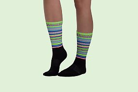 Woman wearing DNA striped socks